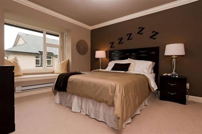 عکس اتاق خواب رنگ قهوه ای