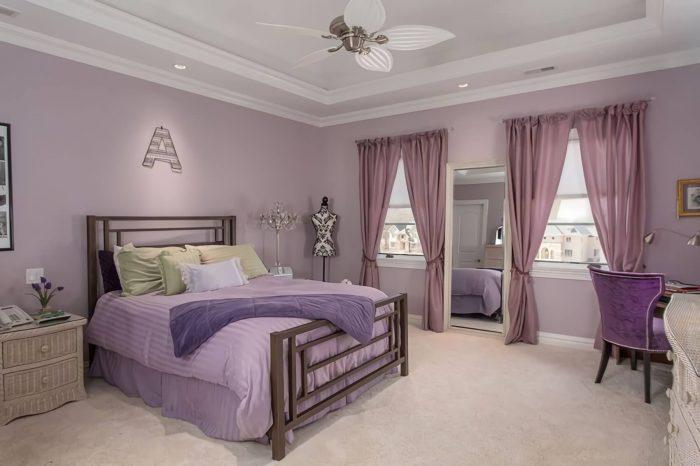 عکس اتاق خواب رنگ بنفش